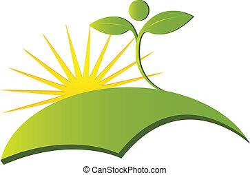 로고, 벡터, 건강, 자연