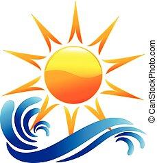 로고, 벡터, 파도, 태양