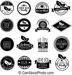 로고, 사랑, eco, 시리즈, 지구, 우리, 친절한