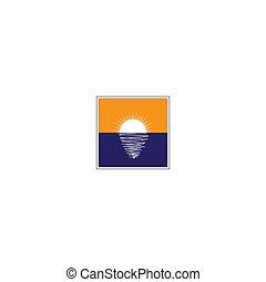 로고, 수평선, 숙고하다, 사각형, 물, 태양