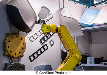 로보트, 기술, 자동이다, 팔, 로봇식이다, 전람, 그림, 물보라, 조작자