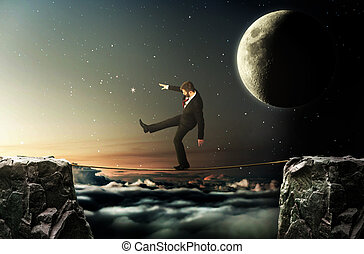 로프, 걷기, 개념, 암흑, success., goal., 빛, 위의, 밤 하늘, obstacles., 극복, 사업, 배경., 남자, 한 벌, 절벽, 포부, 나가