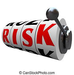 마룻바닥의 구멍 뚜껑, 낱말, 위험, 내기에서 상대방보다 돈을 더 많이 걸기, -, 기계, 기회, 노름하는, 바퀴