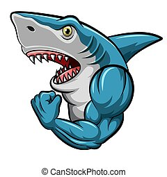 마스코트, 만화, 디자인, 강한, 상어