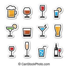 마실 것, 세트, 알코올, 마실 것, 아이콘