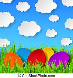 만든, eps10, 다채로운, 봄, 떼어내다, 하늘, 삽화, clouds., 풀, 벡터, 녹색, 종이, 배경, 부활절 달걀