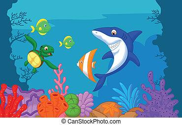 만화, 바다 삶
