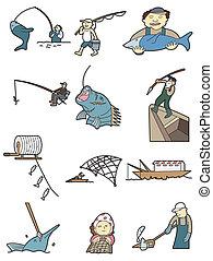 만화, 어업, 아이콘