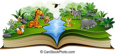 만화, 책, 동물, 강, 열려라, 노는 것
