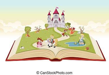 만화, 책, 열려라, 왕자, 공주