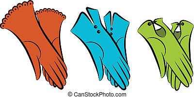 만화, 포도 수확, 여성의 것, gloves.