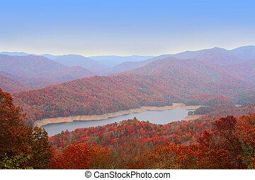 멋진, u, 연기가 자욱한, 가을, 산