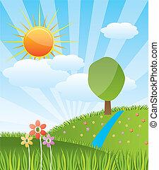 명란한, 조경술을 써서 녹화하다, 숲, 봄