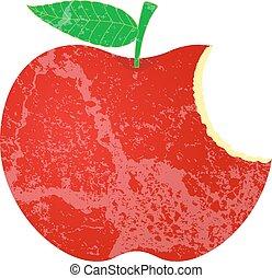 모양, grunge, 애플, 먹다