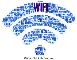 모양, wifi, 낱말, 구름
