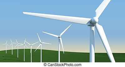 목초지, 풍차, 전기