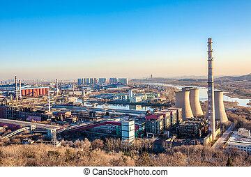 무거운, 북경, 산업, 공장 굴뚝