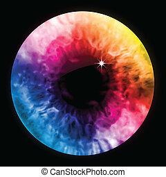 무지개, 눈 색깔, macro., 벡터, 눈동자