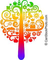 무지개, 생태학의, 나무, 아이콘