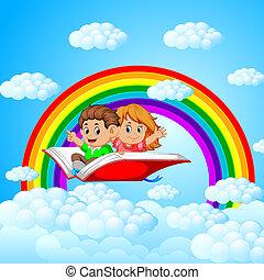 무지개, 키드 구두, 크게, 나는 듯이 빠른, 책, 배경, 열려라, 구름, 행복하다
