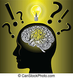문제, 뇌, 해결하는, 생각