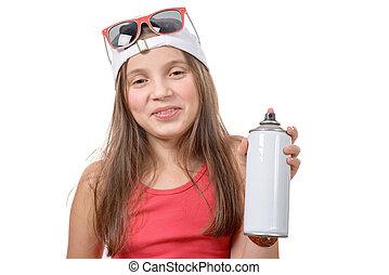 물보라, 어린 소녀, 양철통