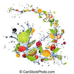 물, 과일, 튀김, 신선한, 배경, 눈이 듯한, 고립된, 백색