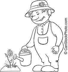 물, 꽃, 윤곽, 정원사