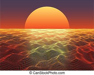 물, 떼어내다, 구체, 태양, 표면, 배경., 기술, horizon.