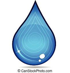 물, 로고, 내리다, 벡터, 아이콘