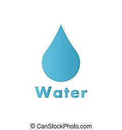 물, 로고, 내리다, 벡터