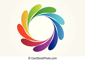 물, 로고, 튀김, 다채로운, 벡터