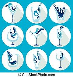 물, 벡터, 삽화, glasse