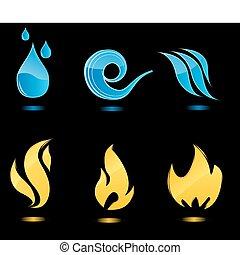 물, 불, 광택 인화, 아이콘