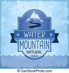 물, 산, retro, 배경, style.
