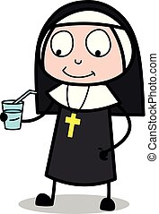 물, -, 삽화, 수녀, 벡터, 술을 마시는 것, 숙녀, 만화