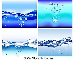 물, 세트, 배경, 벡터