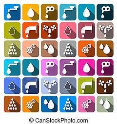 물, 세트, 아이콘, -, 상징, 벡터