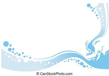 물, 숙녀, 삽화