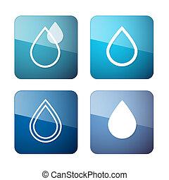 물, 아이콘, 상징, -, 세트, 벡터, 은 떨어진다