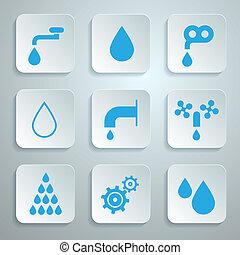 물, 아이콘, 상징, -, 세트, 벡터