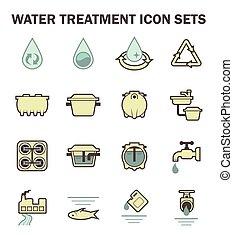 물, 아이콘, 은 놓는다
