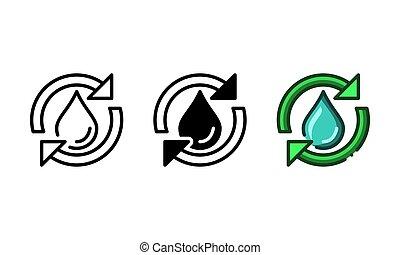 물, 아이콘, 화살, 재활용, 공장, 낭비, 대표되는, 은 떨어진다