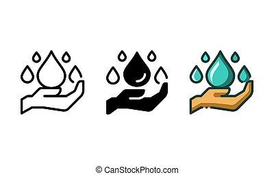 물, 저금, 아이콘, 손, 대표되는