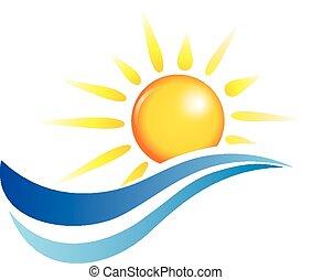 물, 태양, 파도