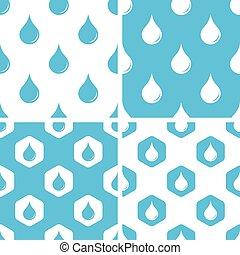 물, 패턴, 내리다, 세트