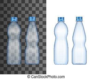 물, 플라스틱 병, 실감나는, 광물, 마실 것