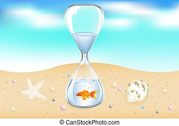 물, 해변, 시계