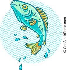 물, fish, 뛰는 것, 나가