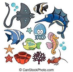 물, fish, 세트, 억압되어